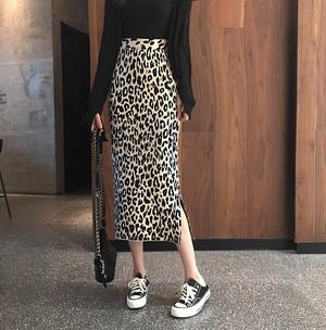 【ボトムス】セクシーファッションヒョウ柄ニットスカート25144884