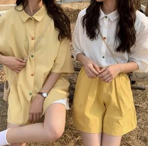 ビタミンカラーが可愛い♡ 双子コーデ セットアップ ツーピース 2点セット シャツ ショートパンツ