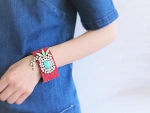 レザーカフビジューブレスレット vintage bracelet leather cuff and bijou <LC1-def>