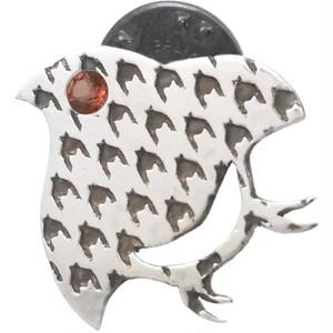 (1月)ガーネット チドリ シルバーピンバッジ ピンズ*ST-003-01