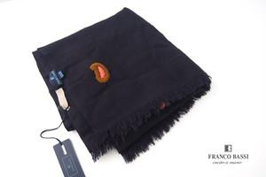フランコバッシ|Franco Bassi|ペイズリー刺繍ウールストール|ネイビー