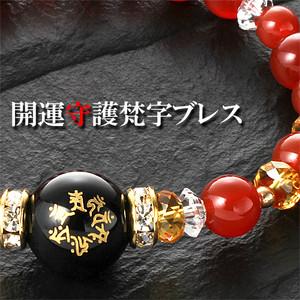 七梵字・赤めのう開運ブレス(梵字・お守りカード付き)