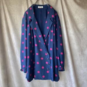 navy×pink dot big silhouette jacket/ ネイビーとピンクの水玉のオーバーサイズジャケット