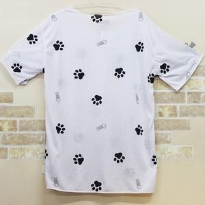 【原宿系 猫 あしあと】クルーネックTシャツ(ユニセックス)【肉球 猫柄】