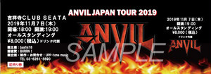 ANVIL 2019.11.7 吉祥寺CLUB SEATA【オリジナルチケット】