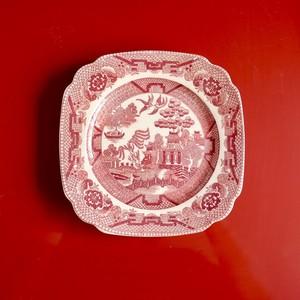 【30995】 ウィローパターンのピンクの小皿/ WILLOW PATTERN PINK PLATE