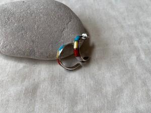 <vintage silver925>multi color hoop pierce