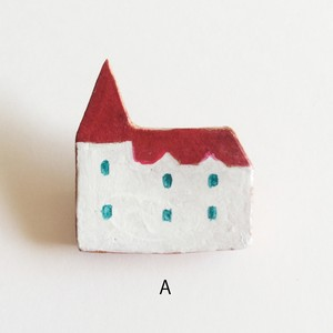 大塚砂織 ブローチ 赤い屋根の家