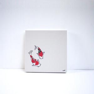【風森美絵】18cm角原画(二匹の錦鯉)