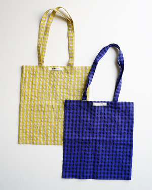 【tumugu:】コットンリネンギンガムチェックトートバッグ