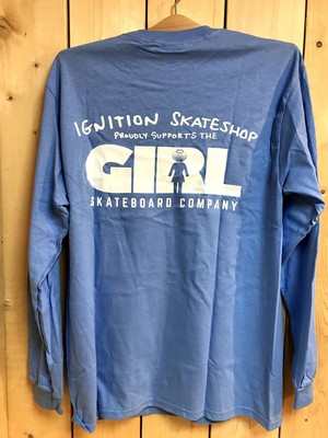 【クリックポスト200-対応】IGNITION SKATESHOP x GIRL L/S T-SHIRTS [SUPPORT-POWDER BLUE]