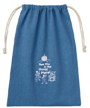 刺繍シャンブリック巾着(Blue)-1