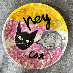 【UPCYCLE】 DECOPAGE PLATE HEY CAT pink