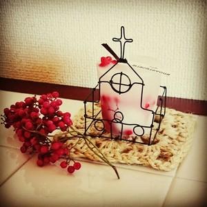 教会型キャンドルホルダー&ボタニカルキャンドル(ペッパーベリー):コラボ限定品