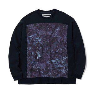 FALLEN LEAVES PRINTED SWEATSHIRT - NAVY