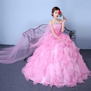 パーティードレス ロングドレス ウェディングドレス オフショルダー チュールスカート フェミニン 演奏会 編み上げ 結婚式 結婚式二次会 お呼ばれ フォーマル