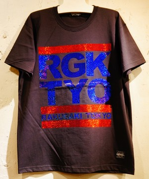 RAKUGAKI OLD SCHOOL Spangle Logo T-Shirts Black x Red/Royal