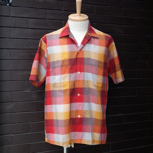 Check Pattern Short Sleeve Open Collar Shirt / チェック柄 半袖 開襟 シャツ