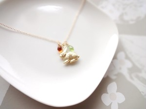 【受注生産】Necklace■animal rabbit 4■2 jemstone drops