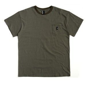 CHRYSTIE NYC C Logo Stripe Pocket T  Military Green Lクリスティーニューヨーク