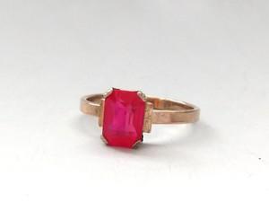 旧ソ連 シルバー875 ピンクストーン リング / 指輪