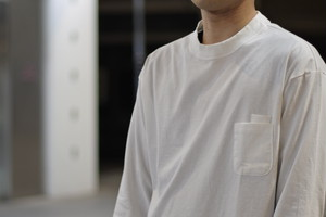 【maillot】us cotton double pocket long Tee col.WHITE