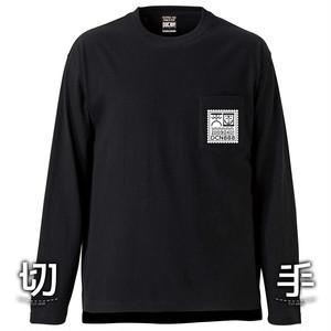 切手 L/S T-shirt BLACK