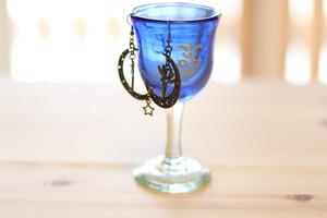 オリジナル琉球ガラス:ワイングラスecole de danceブルー#9