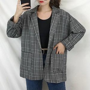 【アウター】フェミニン長袖アウター折襟チェック柄合わせやすい通勤スーツ・コート23491214