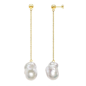 【Sクラス】baroque pearl long chain pierce / earring