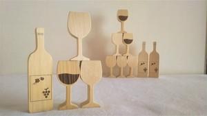 木製オブジェ ワイングラスとボトル 青森ひば