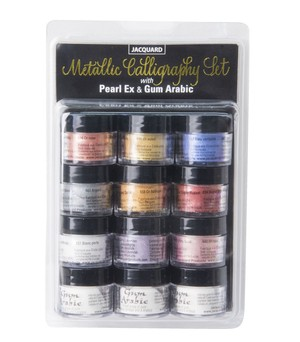 Jacquard Pearl Ex Metallic Calligraphy Set With Gum Arabic