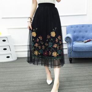 【ボトムス】エレガント花柄刺繍ロングレースメッシュスカート18296395