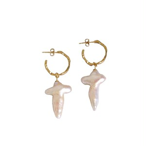 Cross Shaped  Pearl Earrings