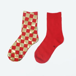 METAL SOX (CHECKER) RED X GOLD