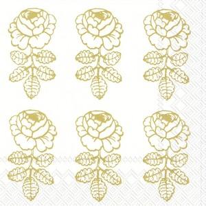 2020秋冬新作【marimekko】バラ売り2枚 カクテルサイズ ペーパーナプキン VIHKIRUUSU ホワイト×ゴールド