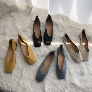 4color : Diagonal Seam Square Toe Soft Flat Shoes   92010 スクエアトゥ パンプス