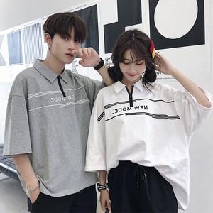 【トップス】韓国系レトロアルファベットファスナー半袖Tシャツ26401989