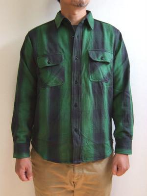 BIGMIKE ビッグマイク HEAVY FLANNEL SHIRTS ヘビーフランネルシャツ グリーン×ブラック ネルシャツ ワークシャツ チェック 長袖 10835103-7