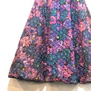 【USED】キルティング カラフル 花柄 フレア スカート