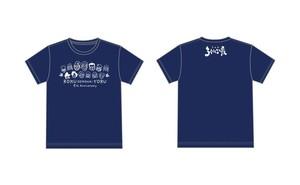 ろく夜5周年Tシャツ【全員集合!】ボディ紺 プリント白