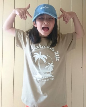 KID'S NO ALOHA NO LIFE PARM TREE T-shirts/ col.light kahki