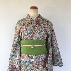 インド綿の二部式浴衣 おはしょり付き ボタニカルガーデン