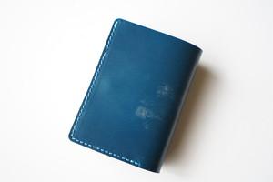 チビ財布 ブルー×グレー×マーブル染め