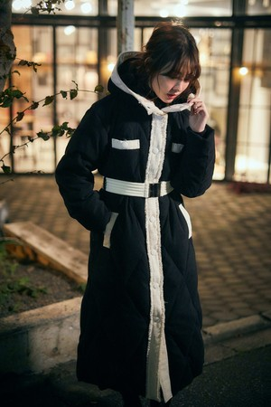 Two-tone Belted Down Coat