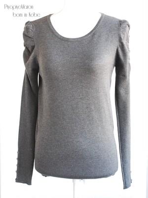 パフ袖セーター   グレー