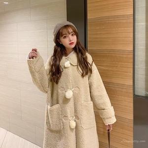 【アウター】ストリート系シンプルフェイクファー折り襟コート