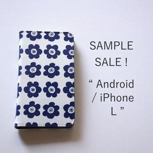 マルチタイプ L:Android と iPhone に対応*帯なし*手帳型*スマホケース「 anemone ( deep blue )」【SAMPLE SALE !】
