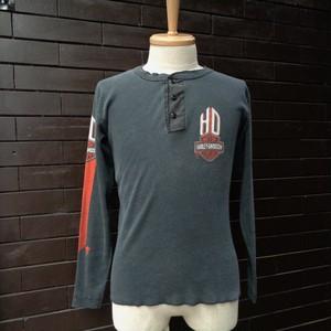 """HARLEY DAVIDSON"" Henry Neck Long Sleeve Print T-Shirt / [ハーレーダビッドソン] ヘンリーネック 長袖 プリント Tシャツ サイズM"