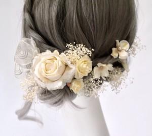 ヘッドドレス 『beige white × gold』髪飾り13点セット